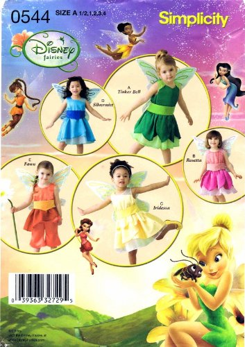 [Simplicity 0544 Toddler Girls Disney Fairy Costumes Sewing Pattern Size 1/2 - 1 - 2 - 3 - 4] (Silvermist Fairy Child Costume)