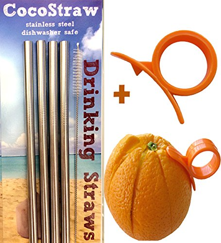 4 Stainless Steel Wide Smoothie Straws + Free Brush + Citrus Peeler - Cocostraw Large Straight Frozen Drink Straw - 4 Pack + Cleaning Brush
