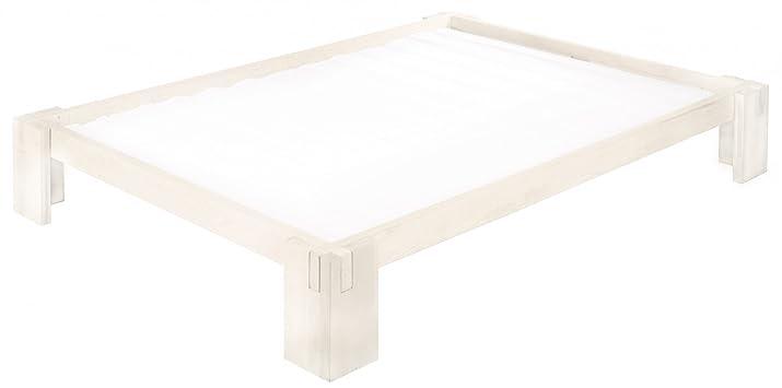 Letto Dario bianchi per adolescenti 140x200 cm, in legno massello di pino biologico