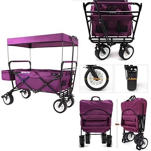 EverydaySports NEW 4th GENERATION Collapsible Folding Wagon Utility Outdoor Beach Camping Cart with Canopy and Kids Seat Belt (Purple) (Folding Wagon With Seats compare prices)