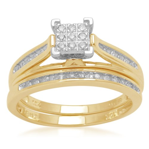 10K Yellow Gold Diamond Square Center Bridal Ring Set (1/7 cttw, I-J Color, I2-I3 Clarity), Size 6