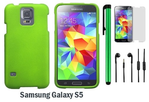Samsung Galaxy S5 Premium Design Protector Hard Cover Case (2014 March Released; Carrier: Verizon, At&T, T-Mobile, Sprint) + Screen Protector Film + 3.5Mm Stereo Earphones + 1 Of New Assorted Color Metal Stylus Touch Screen Pen (Neon Green)