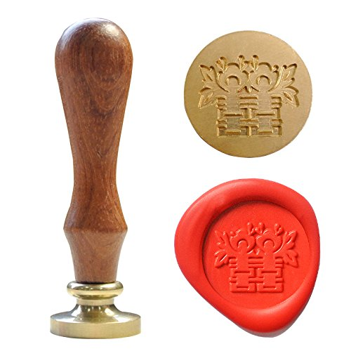 UNIQOOO Arts & Crafts Curlicue Chinese Character Double Happiness Wax Seal Stamp (Chinese Wax Seal compare prices)