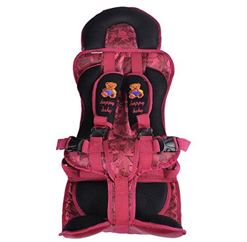 Portable Baby/Child Car Safety Booster Seat Cover Harness Cushion 2 Colors, Suitable For 2-10 Years (18Kg-40Kg) (Black And Red) front-541345
