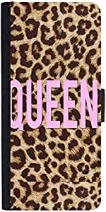 Snoogg Queen Leopard Print Graphic Snap On Hard Back Leather + Pc Flip Cover ...