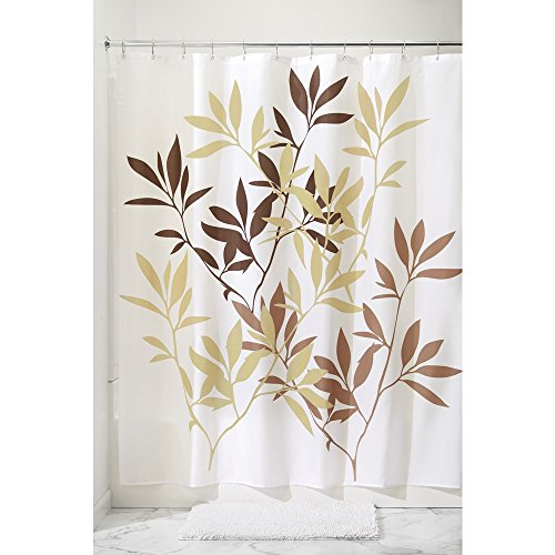 InterDesign Leaves Fabric Shower Curtain 72 x 72, Brown (Shower Curtain With Leaves compare prices)
