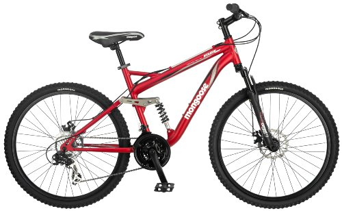 Mongoose Mongoose Stasis Comp 26-Inch Full Suspension Mountain Bicycle, Matte Red, 18-Inch Frame