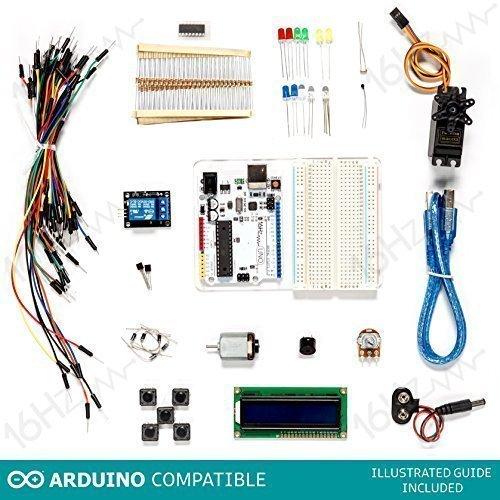 16Hertz UNO R3 Beginner Starter Kit #2 - LED, Breadboard, Jumper Wire, Resistors, Switches, 9V Connector, Sensor, USB Wire for Arduino (16 Hertz Starter Kit compare prices)