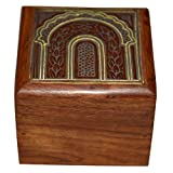 Handmade Jewellery Box Square Shape Wood Carving With Brass Inlay Design - B00LFWFFGG