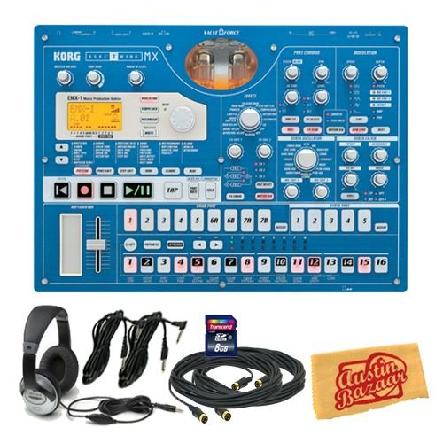 Korg EMX1SD Electribe Music Production Station Bundle with 8 GB SD Card, Two 10-Foot MIDI Cables, Two 10-Foot Instrument Cables, Headphones, and Polishing Cloth