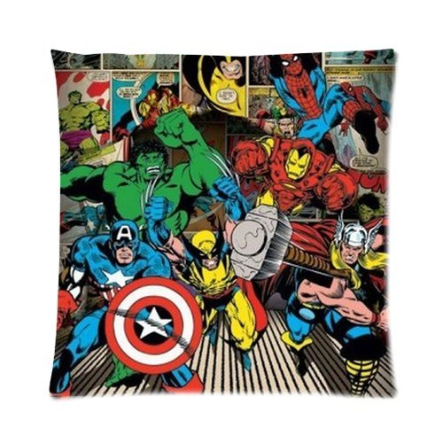 Generic Custom Cartoon Tv Series Captain America Cool Design Printed Zippered Pillowcase Cushion Case 16*16(Two Sides) front-1000606