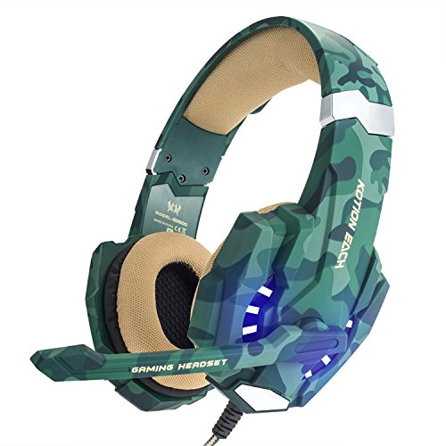 [Christmas Thanksgiving New Gift] EasySMX Latest Version Gaming Headset for PS4 Comfortable LED lighting Gaming Headphones Stereo Wired Gaming Headset Headphones with Mic Noise Cancellation LED Lamp and In-Line Controller Compatible for PS4, PC, Laptop, Tablets, and all Smartphones, A Microsoft Adapter is Needed if for XBOX one --- Camouflage