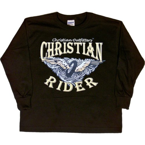 YOUTH LONG-SLEEVE T-SHIRT : BLACK - SMALL - Christian Outfitters - Christian Rider - Biker Inspirational