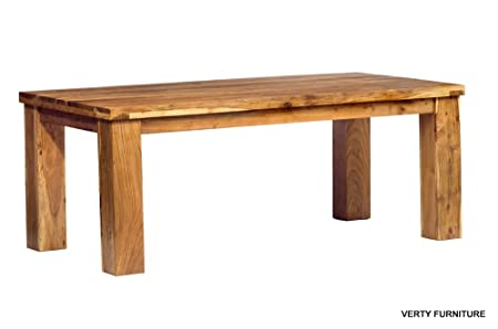 Acacia Wood Metro Large Dining Table Chunky Solid Wood 200cm