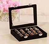 Market-one Fashion Black Lint Ring Jewelry Ear Stud Display Boxes