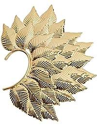 Golden Fohawk Leaf Deepika Padukone Inspired Non Piercing Single Piece Ear Cuff Elegant Trendy Style Beautiful...