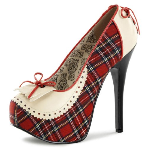 Cream and Red Plaid Penny Loafer Style Platform Pumps with 5.75 Inch Heels Size: 8