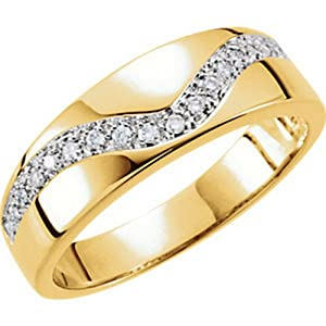 IceCarats Designer Jewelry 14K Yellow Gold Wedding Band Ring. Size 11