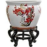 "Oriental Furniture 16"" Cherry Blossom Porcelain Fishbowl"