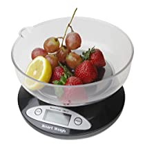 Smart Weigh CSB2KG Cuisine Digital Kitchen Scale with Removable Bowl 2kg x 0.1g - Black