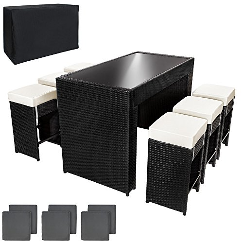TecTake-Luxus-Poly-Rattan-Aluminium-Bar-Set-mit-6-Barhocker-2-Bezugsets-Schutzhlle-Edelstahlschrauben-schwarz