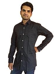 Maclavaro Men's Casual Printed Shirt_9muprnt_Black_L