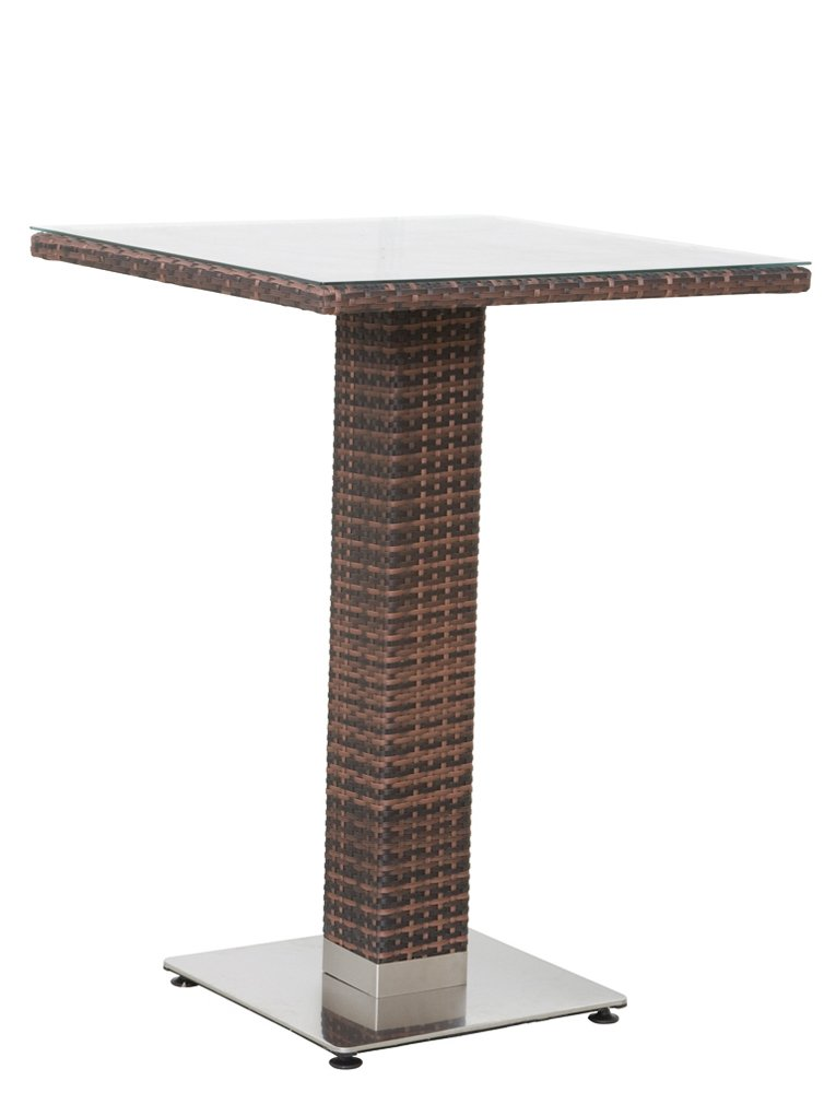 Siena Garden 506468 Bartisch Kuba, Aluminium-Untergestell, Gardino-Geflecht maron, Glasplatte klar, Edelstahl-Fuß, 80 x 80 x 110.5 cm bestellen