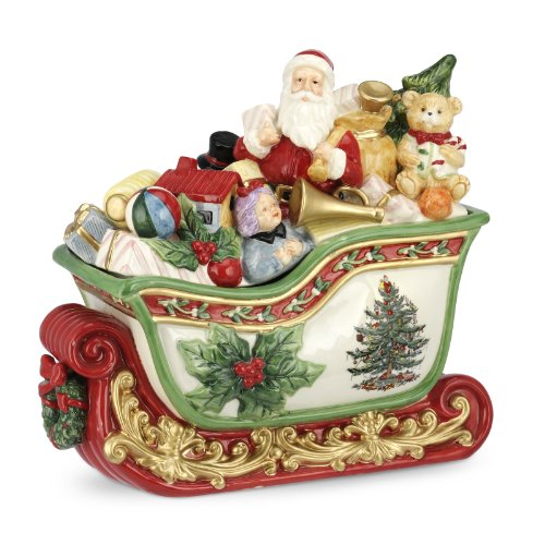 Spode Christmas Tree Santa in Sleigh Cookie Jar, 12.5-Inch