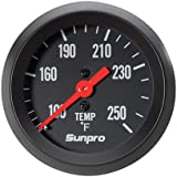 Sunpro CP8217 StyleLine Mechanical Water/Oil Temperature Gauge - Black Dial