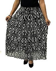 COTTON BREEZE Women's Cotton Skirt (Fp271, Black)