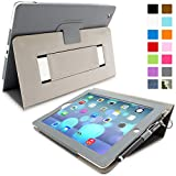 Snugg iPad 2 Case - Smart Cover with Flip Stand & Lifetime Guarantee (Grey Leather) for Apple iPad 2