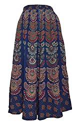 PMS Girls & Womans Maxi Skirt Handcrafted Beaded Painted Elastic Floral Skirt.