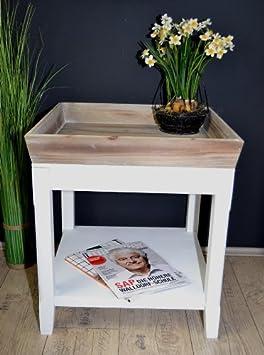 Beistelltisch Landhaus Tisch Mit Tablett Antik Weiß Holz 50 X 50 Cm AD87