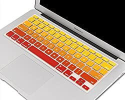CABLESETC US Layout English Keys Rainbow Ombre Pattern Silicone Keyboard Protector Waterproof Cover Keyboard Skin Protection for Apple Macbook Pro Air 13 15