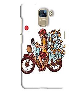Blue Throat Bike Man With Hens Printed Designer Back Cover/Case For Huawei Honor 7