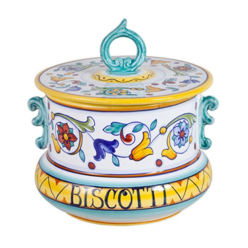Deruta Primavera Ceramic Biscotti Jar From Italy