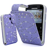 GLITZY GIZMOS LILAC GLITTER PU LEATHER CASE COVER POUCH FOR SAMSUNG CHAT CH@T335 S3350