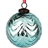 Set Of 2 Handcrafted Blue Coloured Chirstmas Decoratives / Glass Hanging Ball-4 Inch - B01N1SV6CM