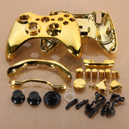 Gold Chrome Custom Wireless Controller Replacement Shell Case Button For Xbox 360