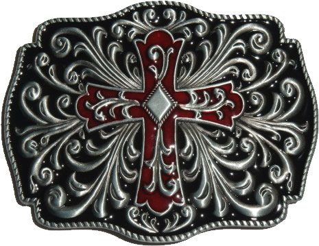 Cross Crucifix Artistic Belt Buckle Black Red (OC-054)