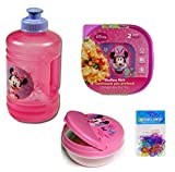4 Item Bundle: Disney Minnie Mouse Lunch Set for Girls - All Are BPA FREE and Non-toxic (Water Jug/Snack Container/2-pack Sandwich Containers)