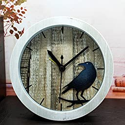 FirstDecor 5 inch Retro Cute Bird Travel Clock Vintage Wood Pattern Silent Non-ticking Quartz Desk Clock Alarm Clocks Round Desk Clocks Bedside Table Clock