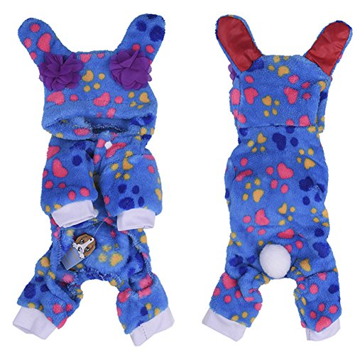 Pet Soft Cashmere Pajamas with Lovely Ears Winter PJS Coat Jumpsuit for Small and Medium Sized Dog Puppy Cat Kitten-XS/S/M/L/XL (Dog Jumpsuit Winter With Feet compare prices)