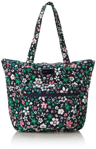 Tommy Hilfiger Zip Pockets Tote,Navy Abby Floral Print,One Size