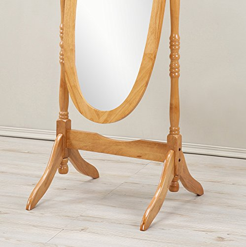 Roundhill Furniture Traditional Queen Anna Style Wood Floor Cheval Mirror, Oak Finish 1