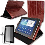 """Luxury Brown Crocodile Leather Case Cover Stand for neoCore Elite HD 9.7"""" inch Tablet PC + Screen Protector + Stylus Pen"""