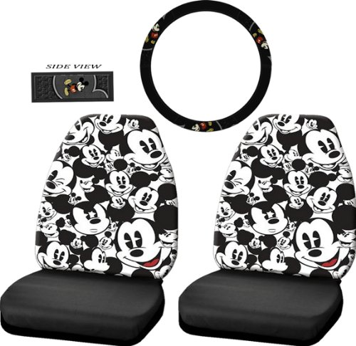 3pcs Mickey Mouse Vintage Front High Back Seat Covers Steering Wheel Cover Set (Vintage Seat Covers compare prices)