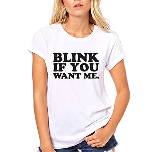 GullPrint Women's Blink If You Want Me Funny T Shirt Large White (Please Make Me Lesbian compare prices)