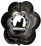 Stainless Steel Yorkshire Terrier Dog 12 Inch Wind Spinner, Black
