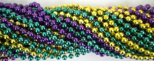 33 inch 07mm Round Metallic Purple Gold and Green Mardi Gras Beads – 6 Dozen (72 necklaces) [Toys & Games] Holiday Toy